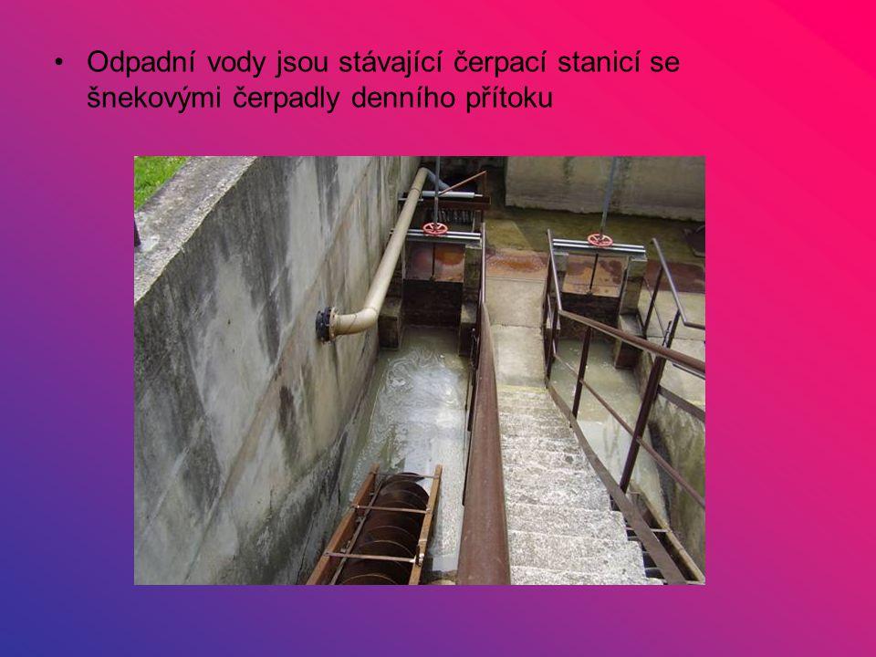 Odpadní vody jsou stávající čerpací stanicí se šnekovými čerpadly denního přítoku