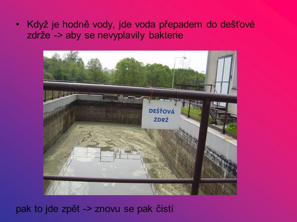 Když je hodně vody, jde voda přepadem do dešťové zdrže -> aby se nevyplavily bakterie pak to jde zpět -> znovu se pak čistí