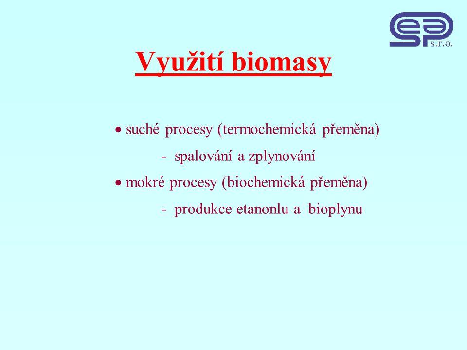 Využití biomasy  suché procesy (termochemická přeměna) - spalování a zplynování  mokré procesy (biochemická přeměna) - produkce etanonlu a bioplynu