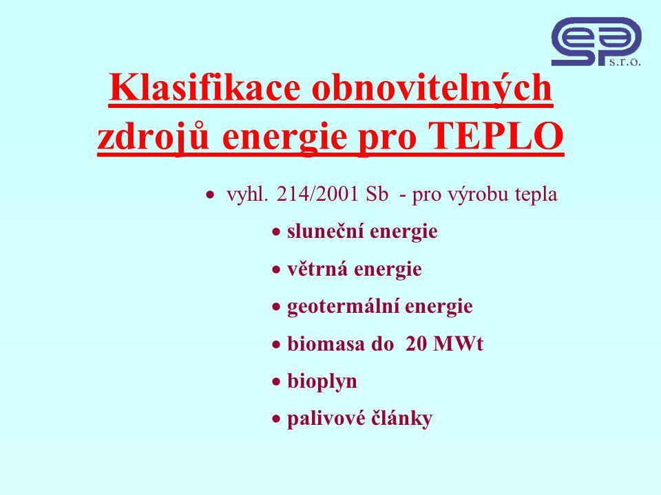 Klasifikace obnovitelných zdrojů energie pro TEPLO  vyhl.