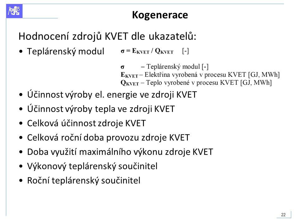 22 Kogenerace Hodnocení zdrojů KVET dle ukazatelů: Teplárenský modul Účinnost výroby el. energie ve zdroji KVET Účinnost výroby tepla ve zdroji KVET C