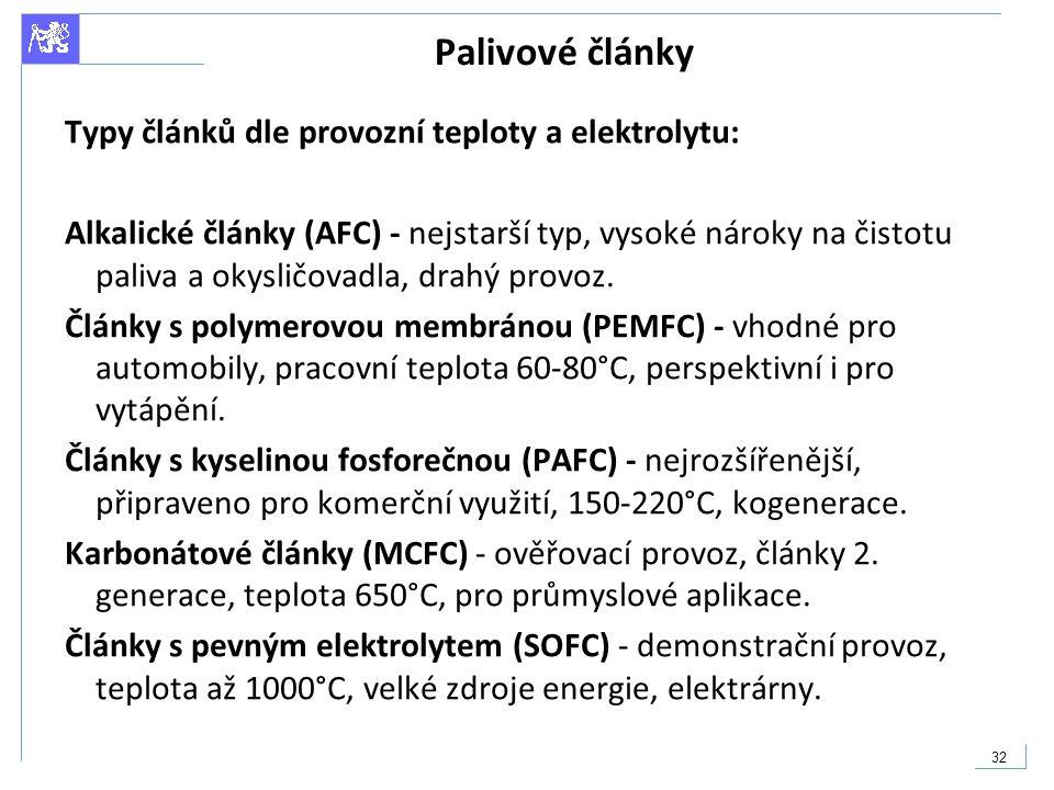 32 Palivové články Typy článků dle provozní teploty a elektrolytu: Alkalické články (AFC) - nejstarší typ, vysoké nároky na čistotu paliva a okysličov