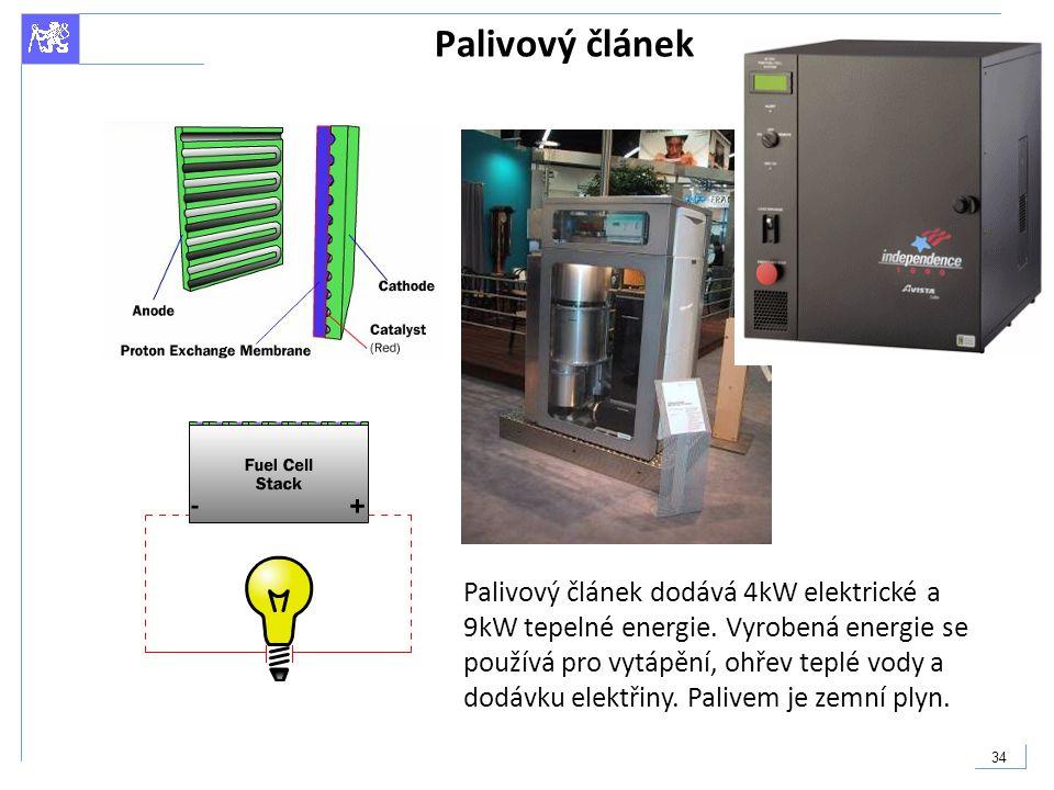 34 Palivový článek Palivový článek dodává 4kW elektrické a 9kW tepelné energie. Vyrobená energie se používá pro vytápění, ohřev teplé vody a dodávku e