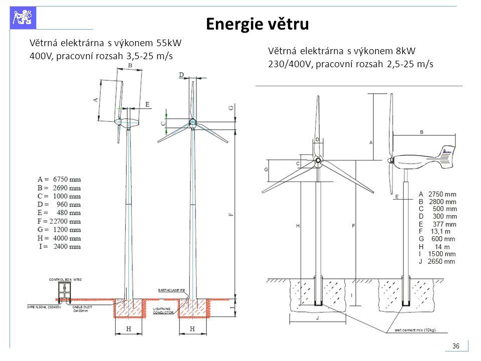 36 Energie větru Větrná elektrárna s výkonem 8kW 230/400V, pracovní rozsah 2,5-25 m/s Větrná elektrárna s výkonem 55kW 400V, pracovní rozsah 3,5-25 m/
