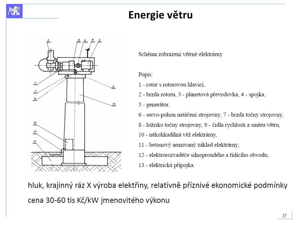 37 Energie větru hluk, krajinný ráz X výroba elektřiny, relativně příznivé ekonomické podmínky cena 30-60 tis Kč/kW jmenovitého výkonu