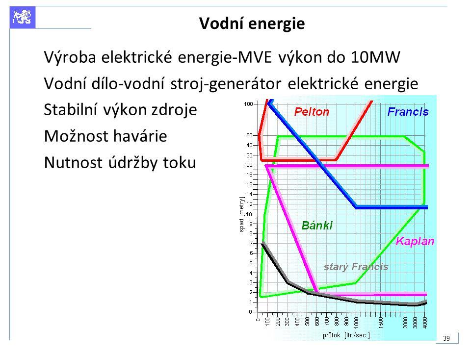 39 Vodní energie Výroba elektrické energie-MVE výkon do 10MW Vodní dílo-vodní stroj-generátor elektrické energie Stabilní výkon zdroje Možnost havárie