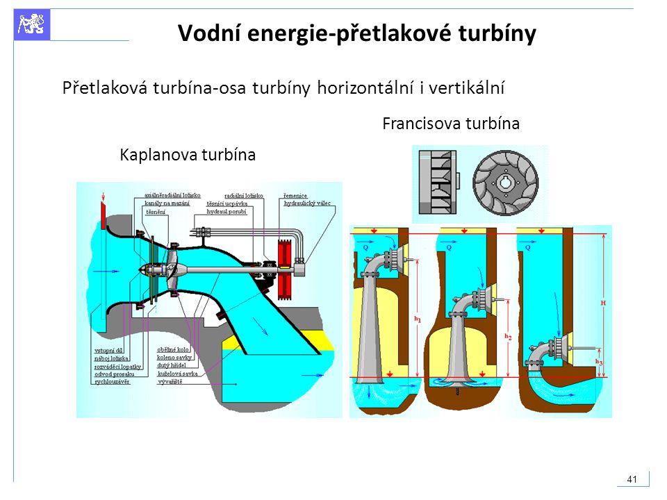 41 Vodní energie-přetlakové turbíny Kaplanova turbína Francisova turbína Přetlaková turbína-osa turbíny horizontální i vertikální