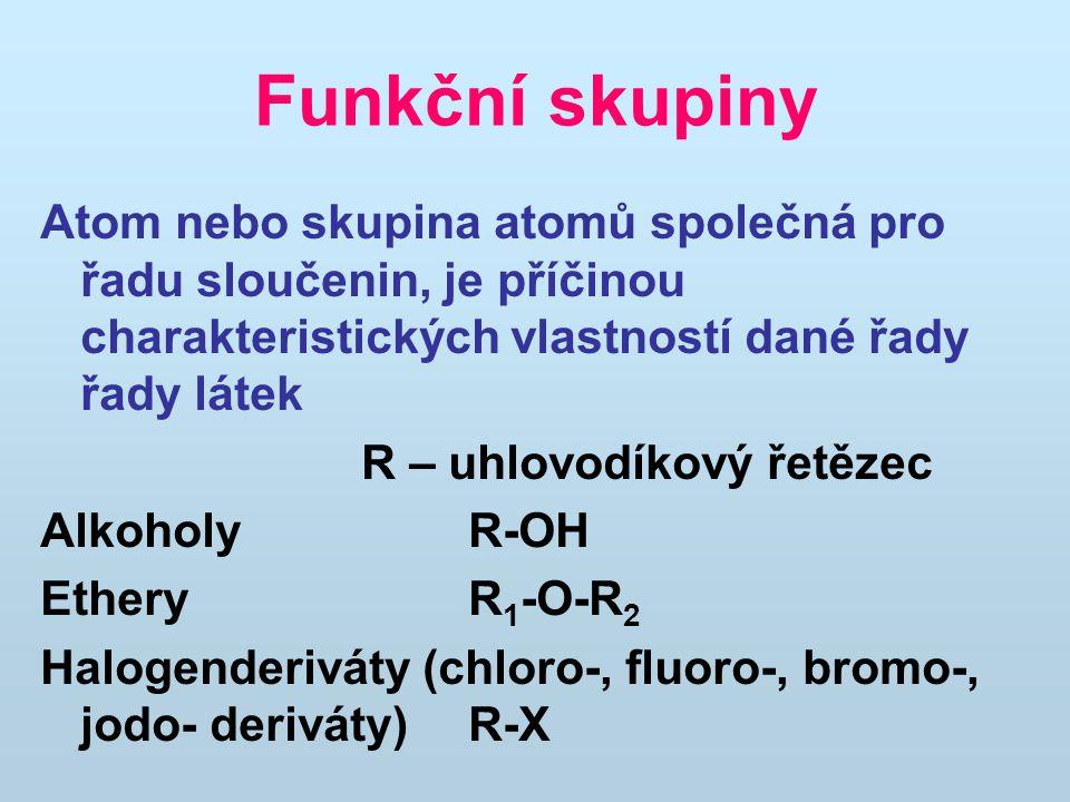 Funkční skupiny Aldehydy R-CHO Ketony R 1 -CO-R 2 Karboxylové kyseliny R-COOH AminyR-NH 2 Nitroderiváty R-NO 2 Thioly R-SH Sulfidy R 1 -S-R 2 Sulfonové kyseliny R - SO 3 H