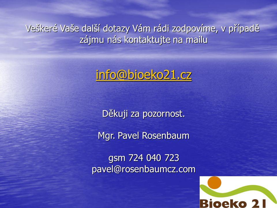 Veškeré Vaše další dotazy Vám rádi zodpovíme, v případě zájmu nás kontaktujte na mailu info@bioeko21.cz Děkuji za pozornost.