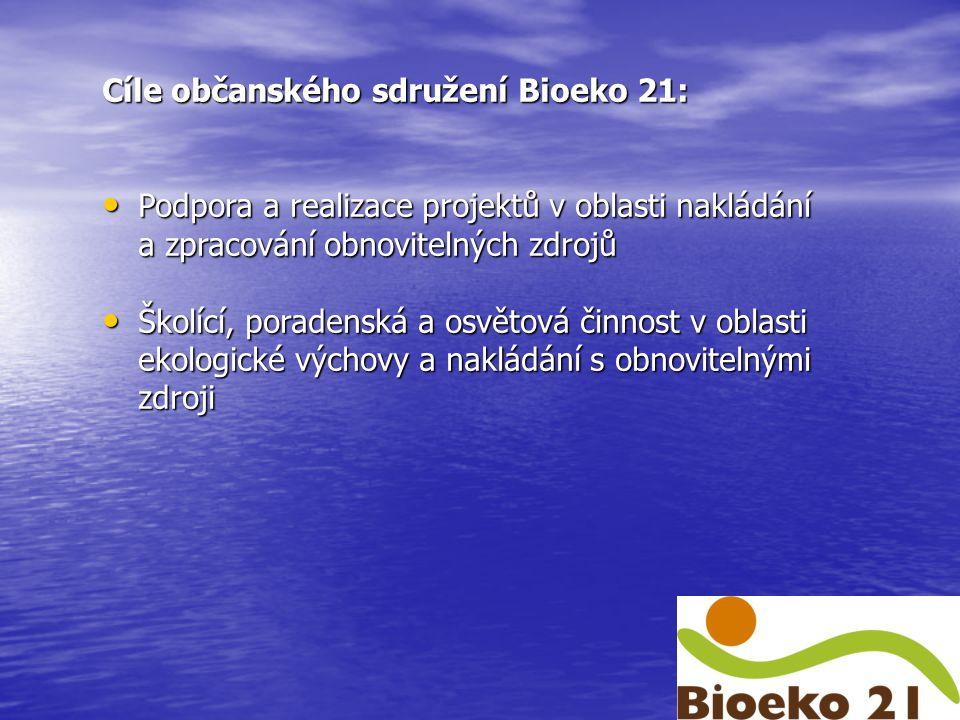 Cíle občanského sdružení Bioeko 21: Podpora a realizace projektů v oblasti nakládání Podpora a realizace projektů v oblasti nakládání a zpracování obnovitelných zdrojů Školící, poradenská a osvětová činnost v oblasti Školící, poradenská a osvětová činnost v oblasti ekologické výchovy a nakládání s obnovitelnými zdroji