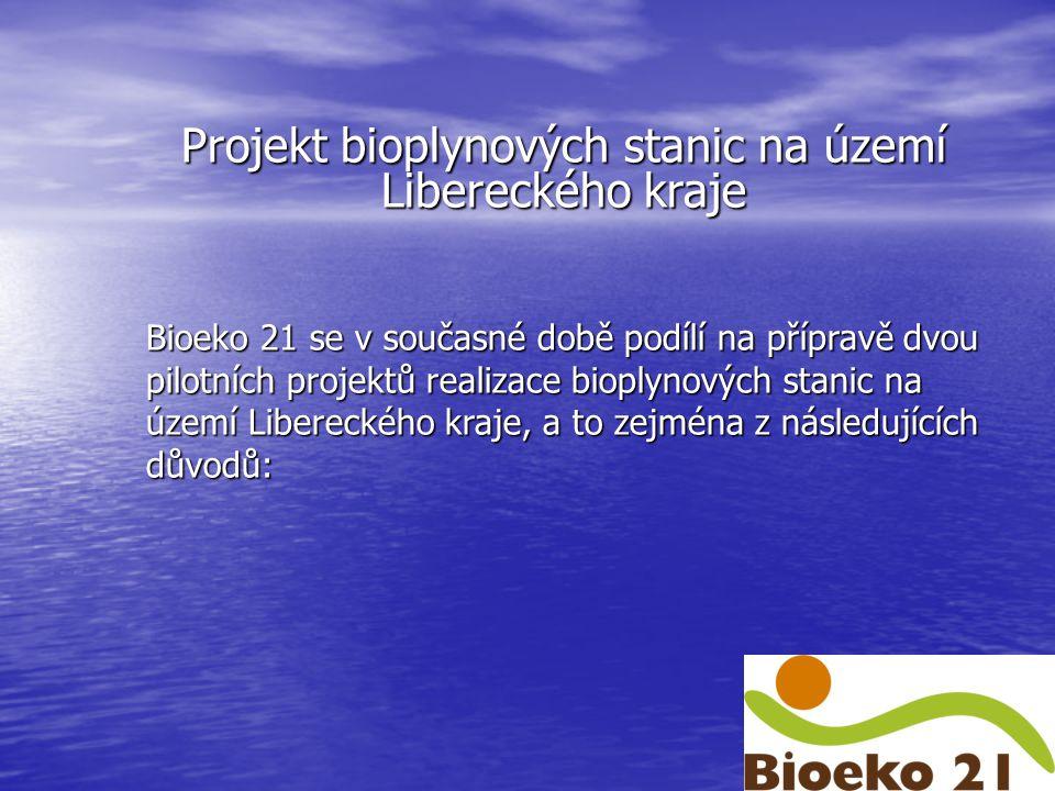 Projekt bioplynových stanic na území Libereckého kraje Bioeko 21 se v současné době podílí na přípravě dvou pilotních projektů realizace bioplynových stanic na území Libereckého kraje, a to zejména z následujících důvodů: