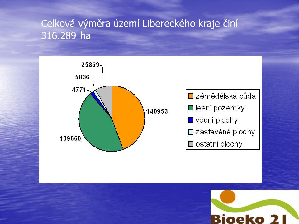 Celková výměra území Libereckého kraje činí 316.289 ha