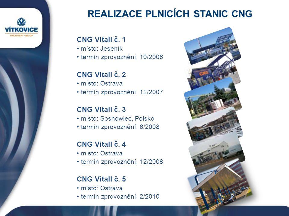 REALIZACE PLNICÍCH STANIC CNG CNG Vitall č. 1 místo: Jeseník termín zprovoznění: 10/2006 CNG Vitall č. 2 místo: Ostrava termín zprovoznění: 12/2007 CN