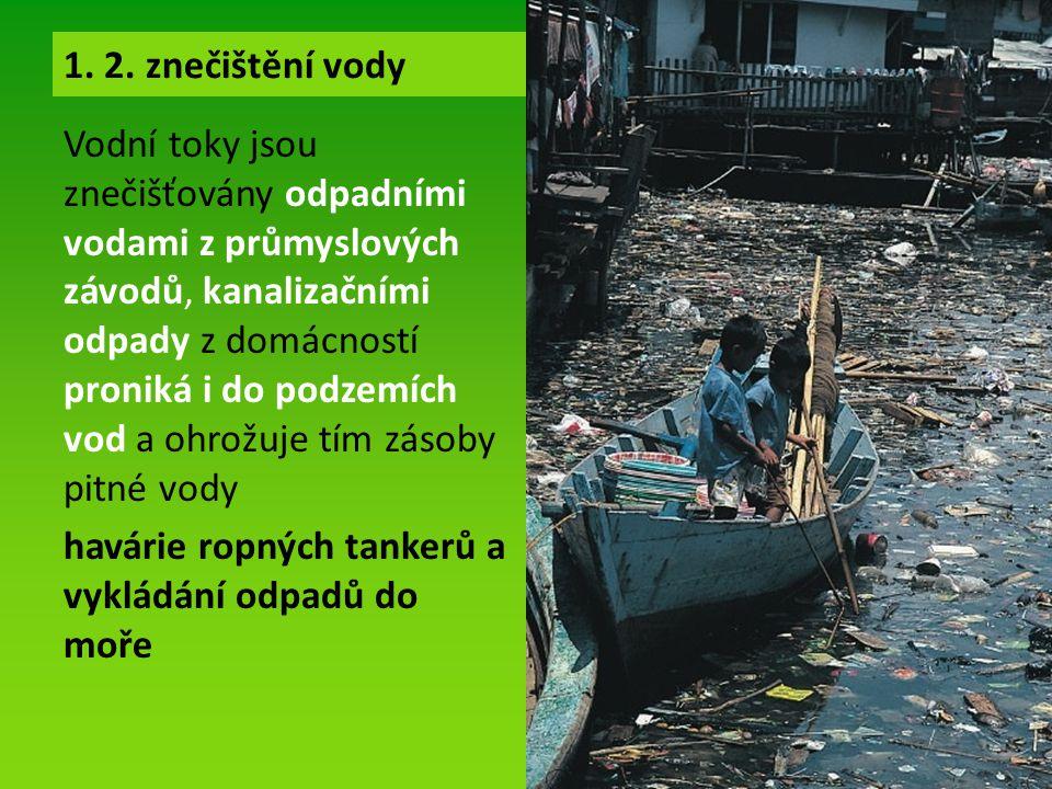 Vodní toky jsou znečišťovány odpadními vodami z průmyslových závodů, kanalizačními odpady z domácností proniká i do podzemích vod a ohrožuje tím zásoby pitné vody havárie ropných tankerů a vykládání odpadů do moře 1.