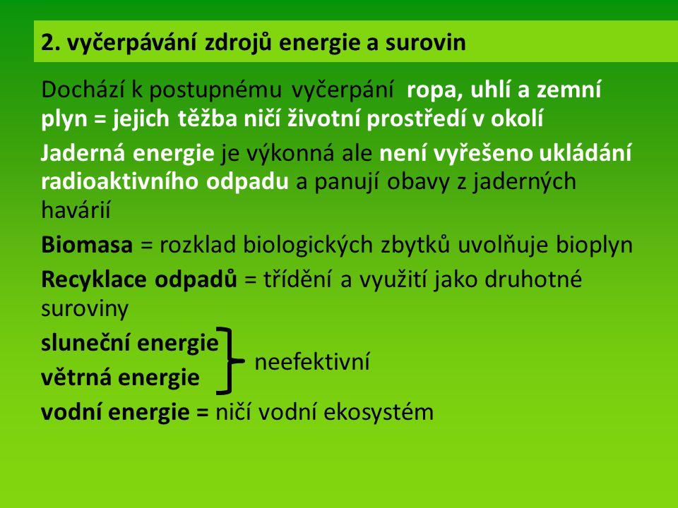 Dochází k postupnému vyčerpání ropa, uhlí a zemní plyn = jejich těžba ničí životní prostředí v okolí Jaderná energie je výkonná ale není vyřešeno ukládání radioaktivního odpadu a panují obavy z jaderných havárií Biomasa = rozklad biologických zbytků uvolňuje bioplyn Recyklace odpadů = třídění a využití jako druhotné suroviny sluneční energie větrná energie vodní energie = ničí vodní ekosystém 2.