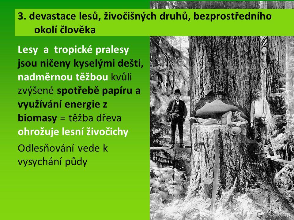 Lesy a tropické pralesy jsou ničeny kyselými dešti, nadměrnou těžbou kvůli zvýšené spotřebě papíru a využívání energie z biomasy = těžba dřeva ohrožuje lesní živočichy Odlesňování vede k vysychání půdy 3.