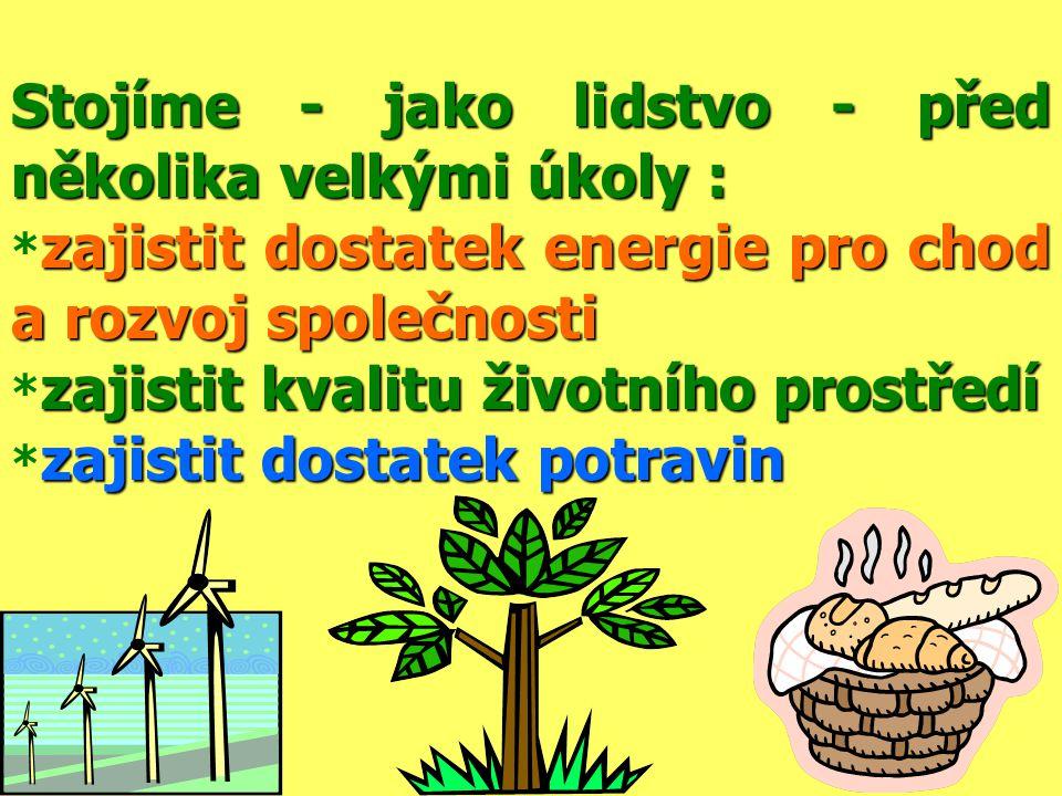 Stojíme - jako lidstvo - před několika velkými úkoly : zajistit dostatek energie pro chod a rozvoj společnosti * zajistit dostatek energie pro chod a