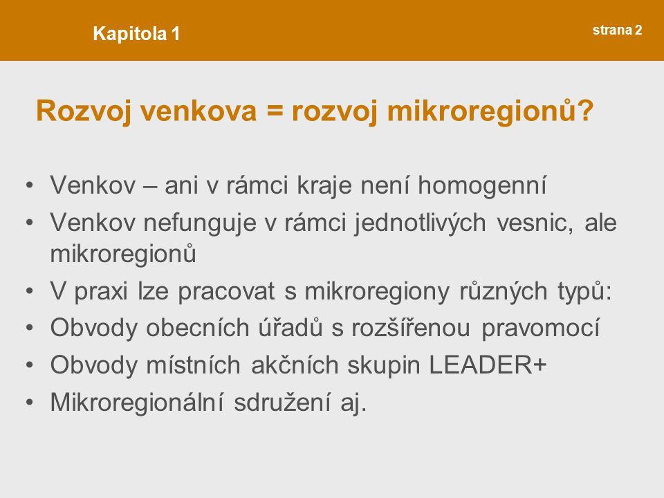 Očekávaný publikační výstup: První číslo série ROZVOJ VENKOVA Rok vydání 2011