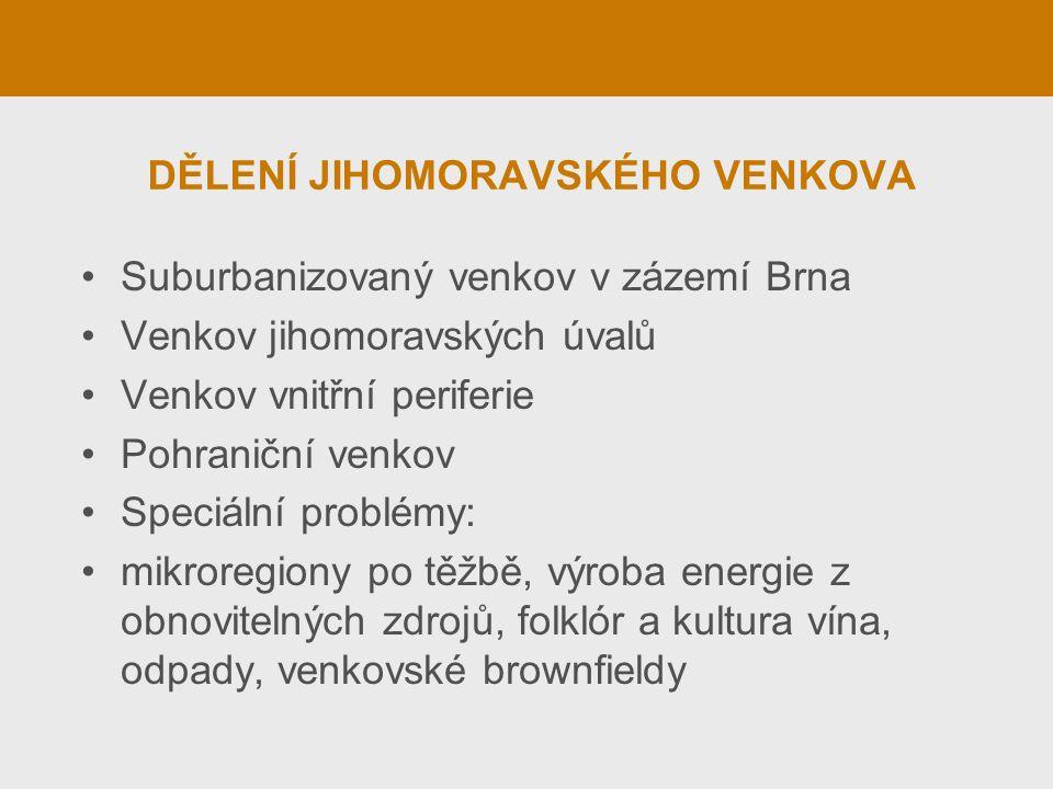 SUBURBANIZOVANÝ VENKOV Suburbanizace rezidenční (severně) a komerční (spíše jižně od Brna) Příklady: Lelekovice, Česká, Podolí, Velatice Suburbanizované malé město (Modřice) Pozitivní a negativní stránky suburbanizace Je suburbanizovaný venkov ještě venkovem?