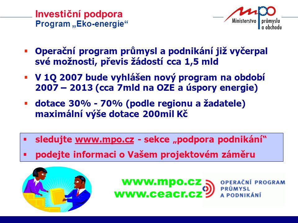 """Investiční podpora Program """"Eko-energie""""  Operační program průmysl a podnikání již vyčerpal své možnosti, převis žádostí cca 1,5 mld  V 1Q 2007 bude"""