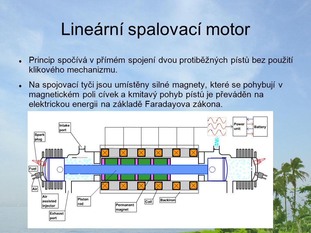 Lineární spalovací motor Princip spočívá v přímém spojení dvou protiběžných pístů bez použití klikového mechanizmu.