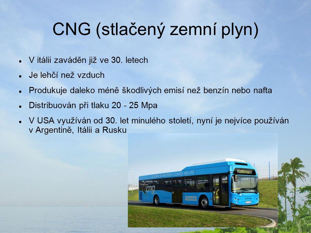 CNG (stlačený zemní plyn) V itálii zaváděn již ve 30.