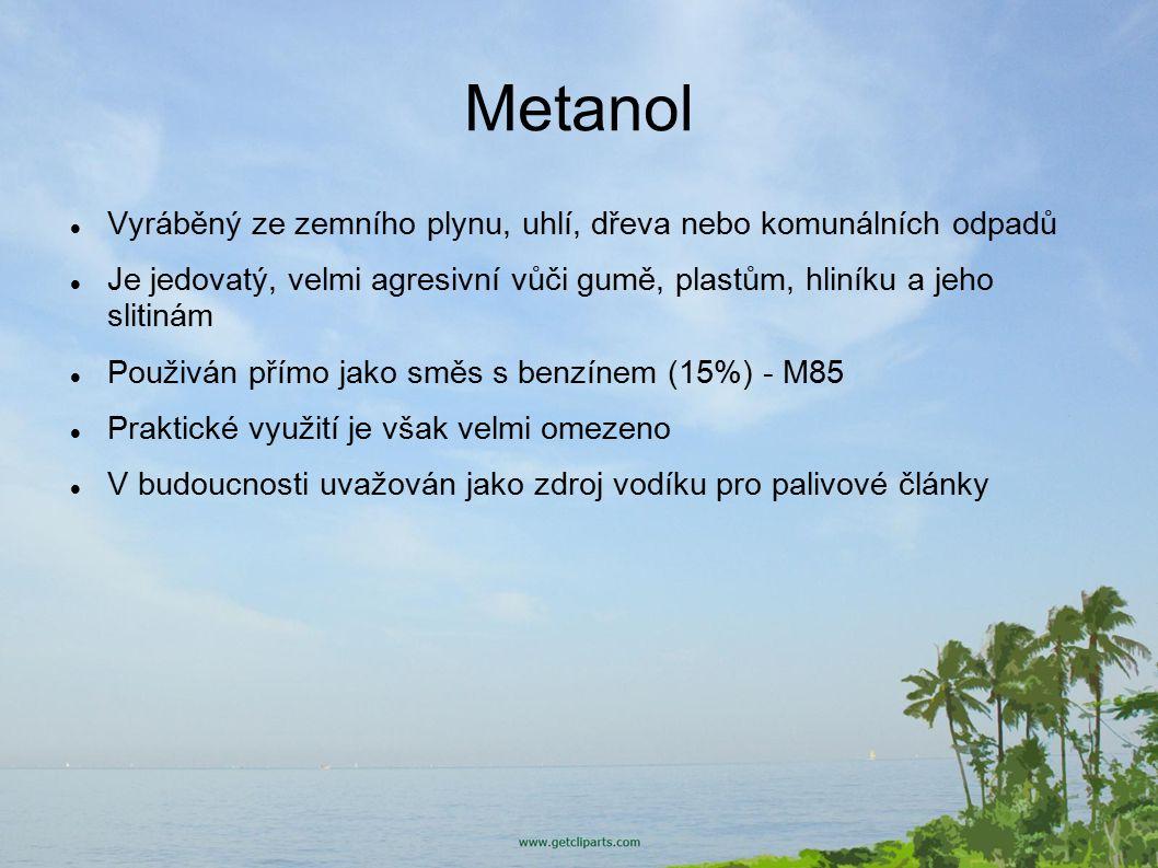 Bioetanol Produkován fermentací rostlinných škrobů obsažených např.