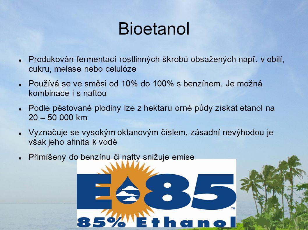 Biodiesel Vyráběný esterifikací* rostlinných olejů nebo živočišných tuků i recyklovaných z restauračních zařízení Poprvé byl využit v Jižní Africe během 2.