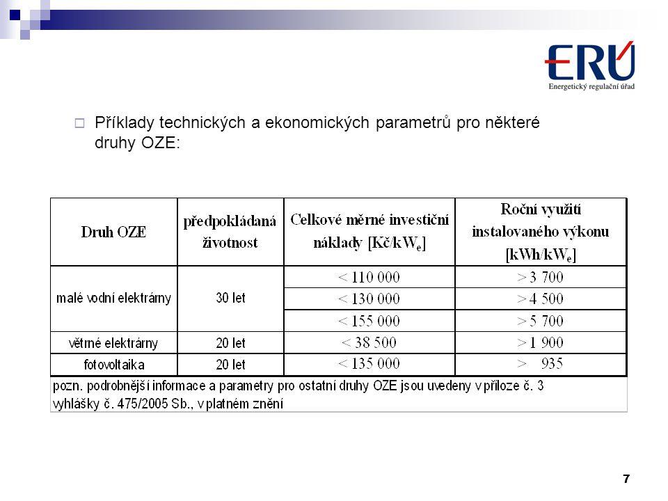 7  Příklady technických a ekonomických parametrů pro některé druhy OZE: