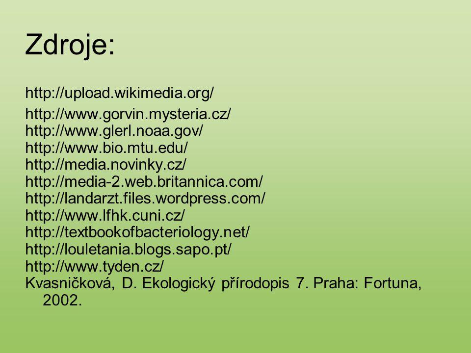 Zdroje: http://upload.wikimedia.org/ http://www.gorvin.mysteria.cz/ http://www.glerl.noaa.gov/ http://www.bio.mtu.edu/ http://media.novinky.cz/ http:/