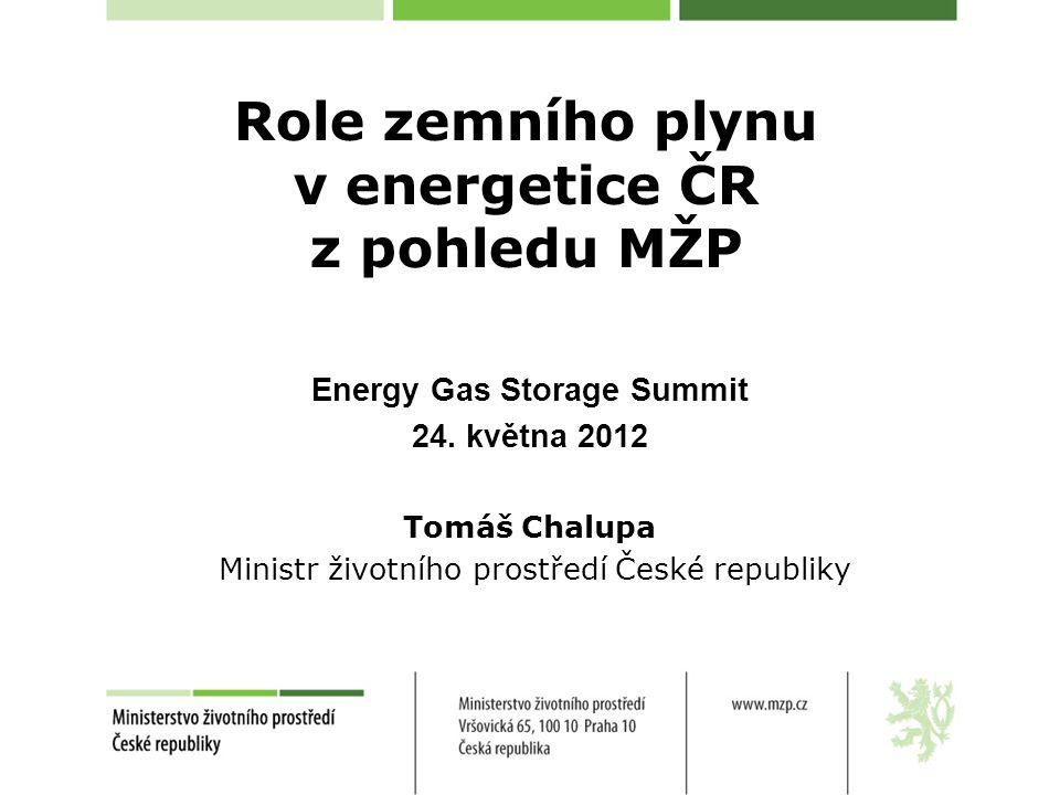 Role zemního plynu v energetice ČR z pohledu MŽP Energy Gas Storage Summit 24. května 2012 Tomáš Chalupa Ministr životního prostředí České republiky