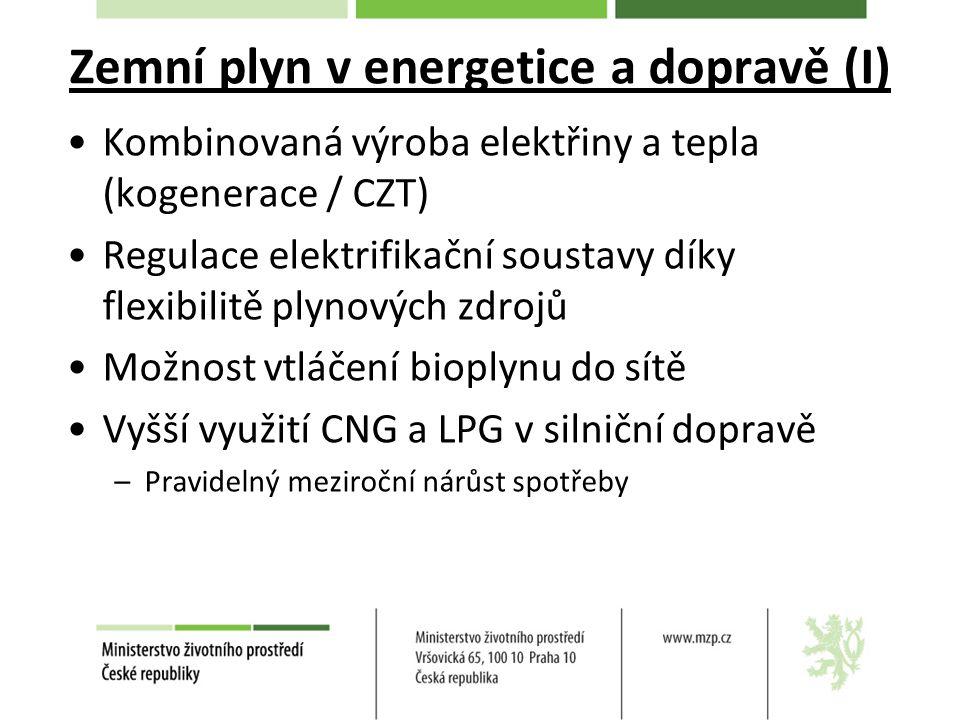 Zemní plyn v energetice a dopravě (I) Kombinovaná výroba elektřiny a tepla (kogenerace / CZT) Regulace elektrifikační soustavy díky flexibilitě plynových zdrojů Možnost vtláčení bioplynu do sítě Vyšší využití CNG a LPG v silniční dopravě –Pravidelný meziroční nárůst spotřeby