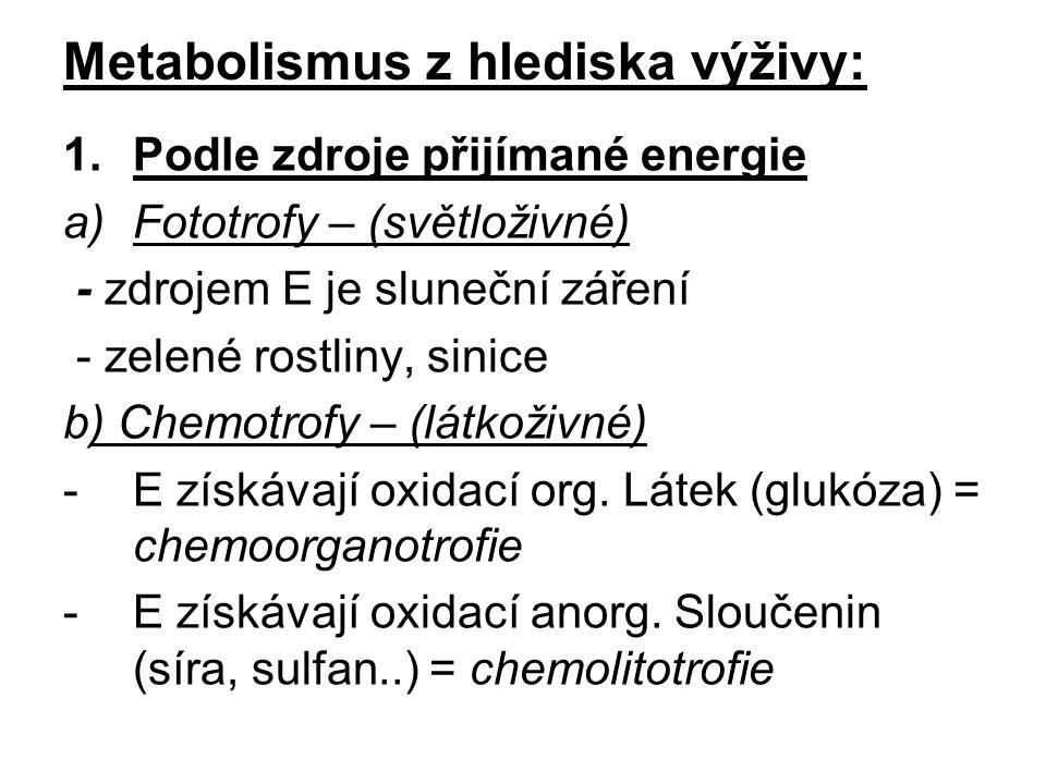 Metabolismus z hlediska výživy: 1.Podle zdroje přijímané energie a)Fototrofy – (světloživné) - zdrojem E je sluneční záření - zelené rostliny, sinice