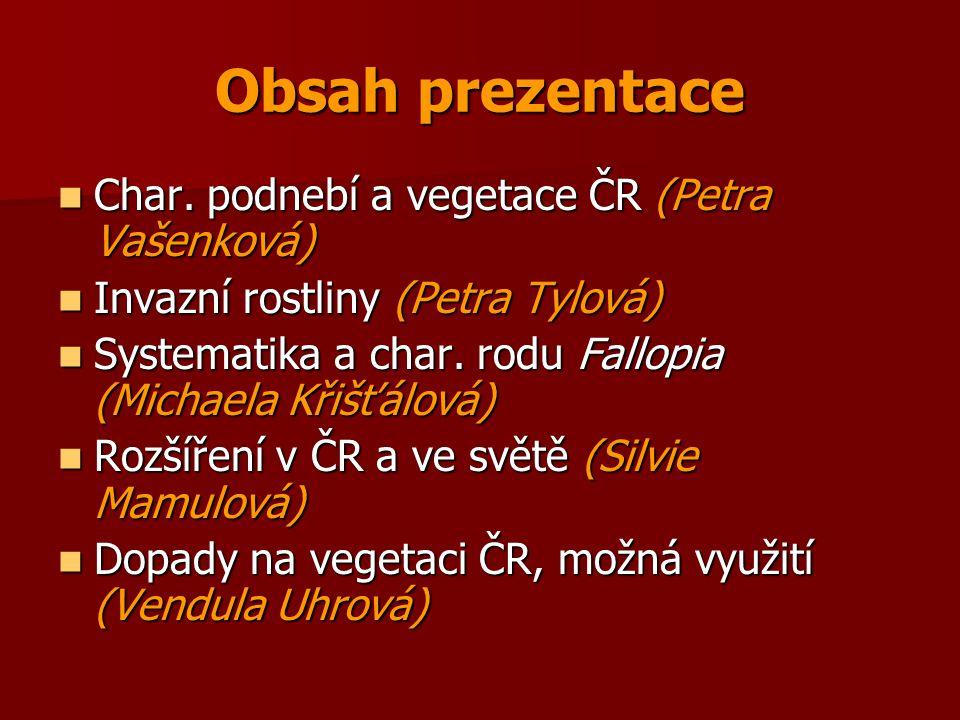 Obsah prezentace Char. podnebí a vegetace ČR (Petra Vašenková) Char. podnebí a vegetace ČR (Petra Vašenková) Invazní rostliny (Petra Tylová) Invazní r