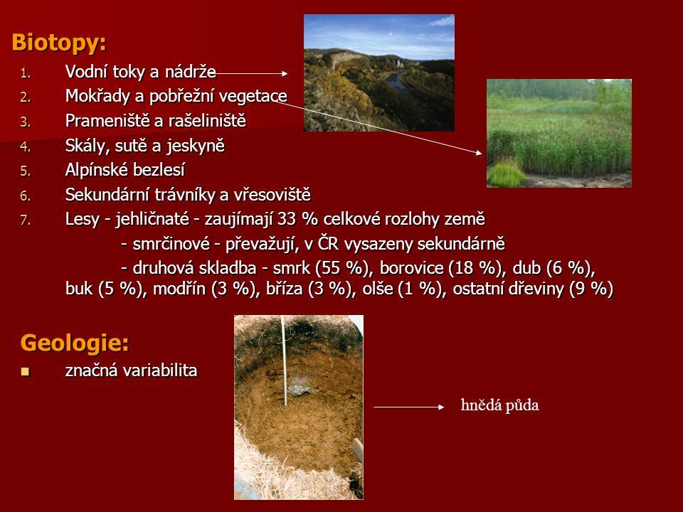 Biotopy: 1. Vodní toky a nádrže 2. Mokřady a pobřežní vegetace 3. Prameniště a rašeliniště 4. Skály, sutě a jeskyně 5. Alpínské bezlesí 6. Sekundární