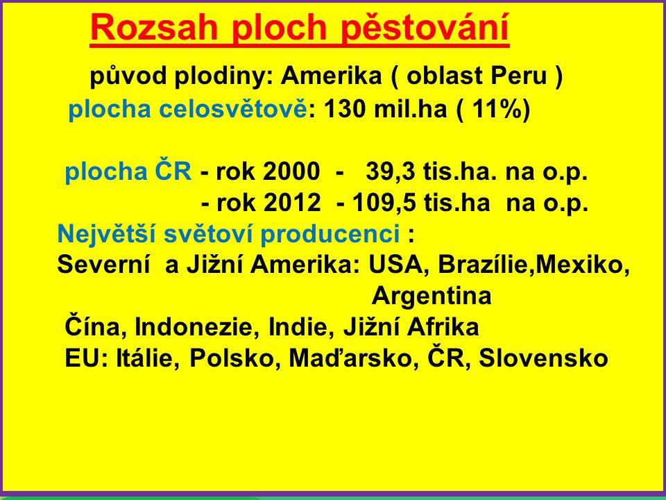 Rozsah ploch pěstování původ plodiny: Amerika ( oblast Peru ) plocha celosvětově: 130 mil.ha ( 11%) plocha ČR - rok 2000 - 39,3 tis.ha. na o.p. - rok