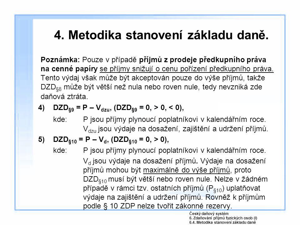 4.Metodika stanovení základu daně.