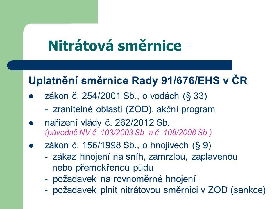 Nitrátová směrnice Uplatnění směrnice Rady 91/676/EHS v ČR zákon č.