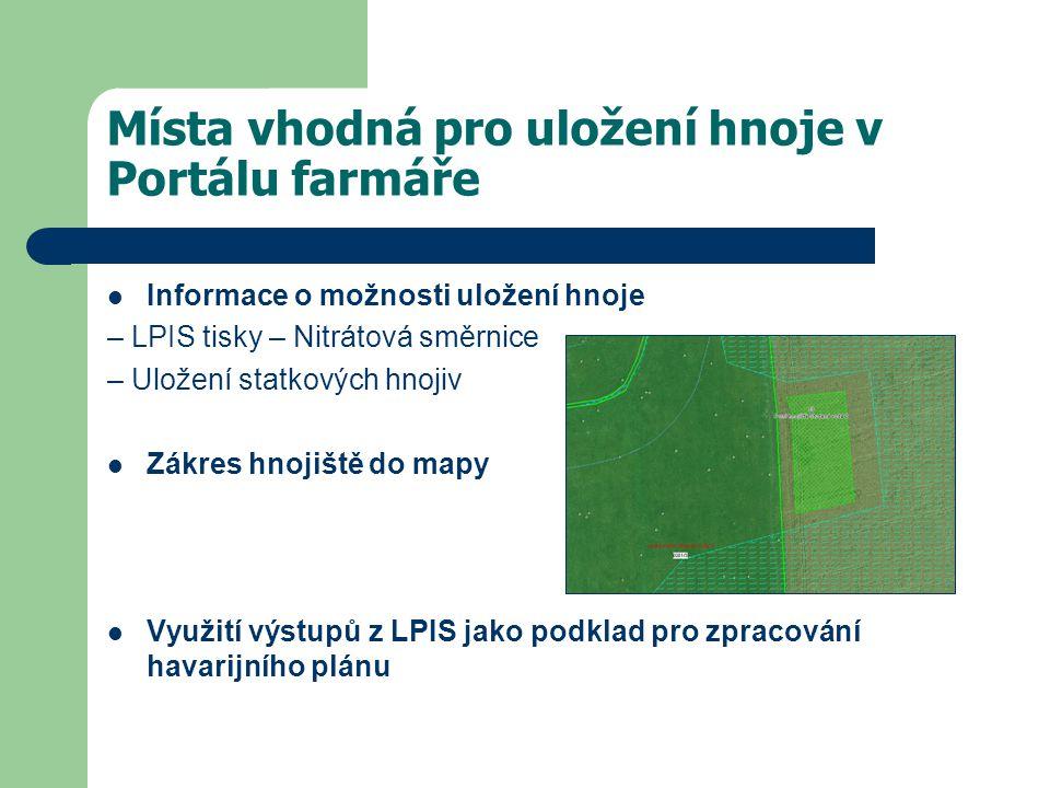 Místa vhodná pro uložení hnoje v Portálu farmáře Informace o možnosti uložení hnoje – LPIS tisky – Nitrátová směrnice – Uložení statkových hnojiv Zákres hnojiště do mapy Využití výstupů z LPIS jako podklad pro zpracování havarijního plánu