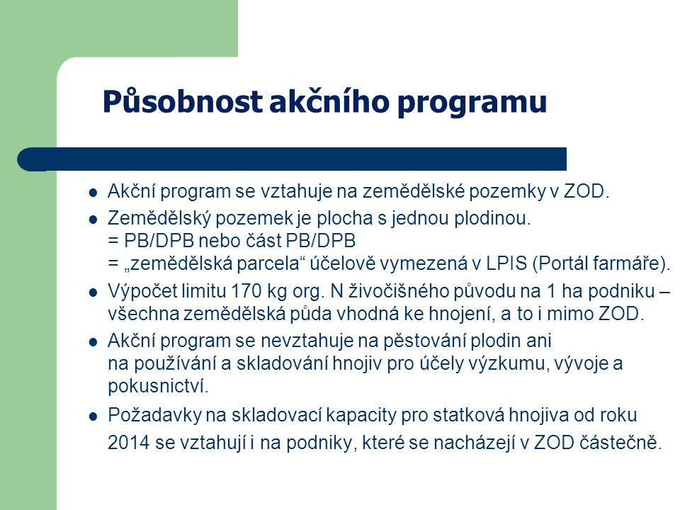 Působnost akčního programu Akční program se vztahuje na zemědělské pozemky v ZOD.