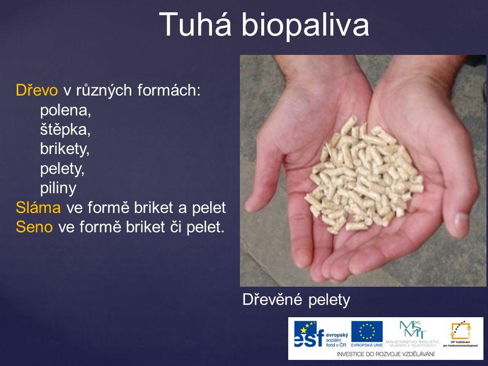 Tuhá biopaliva Dřevo v různých formách: polena, štěpka, brikety, pelety, piliny Sláma ve formě briket a pelet Seno ve formě briket či pelet.
