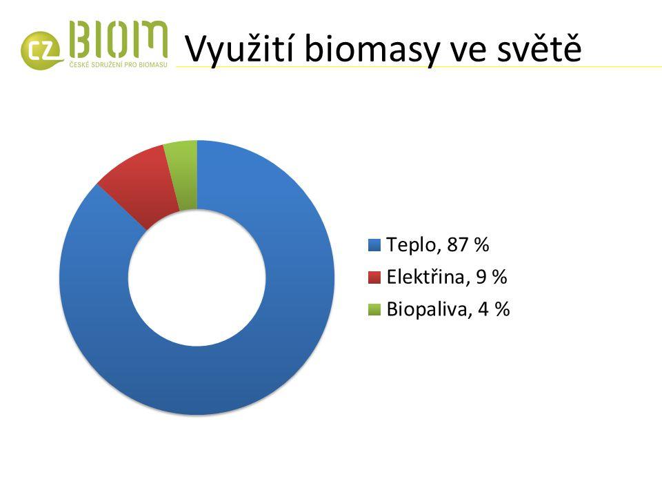 Využití biomasy ve světě Σ = 1238 Mtoe, 10 % celkové energetické spotřeby (WBA, 2012)