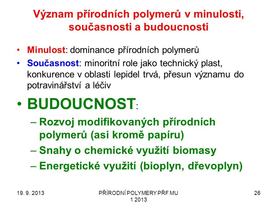 Význam přírodních polymerů v minulosti, současnosti a budoucnosti 19.