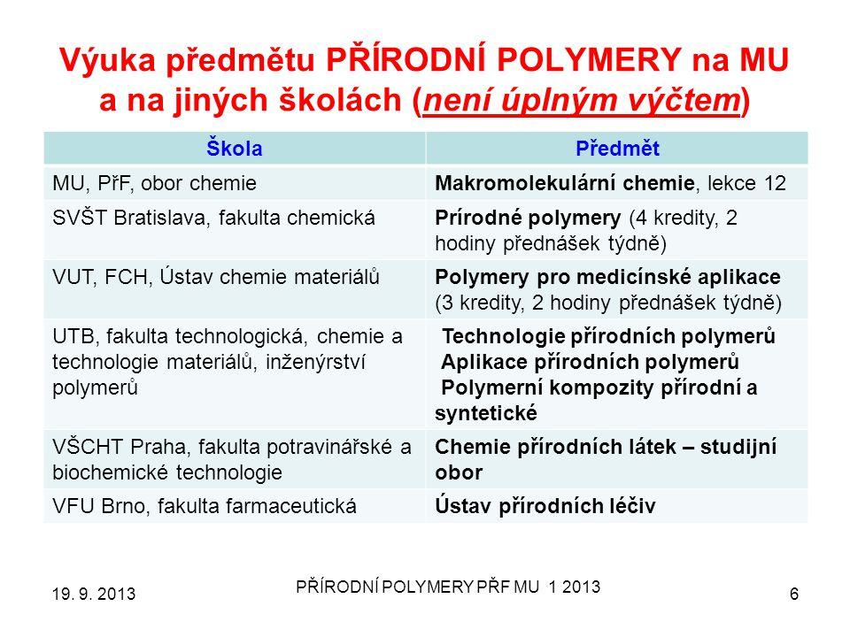 Výuka předmětu PŘÍRODNÍ POLYMERY na MU a na jiných školách (není úplným výčtem) ŠkolaPředmět MU, PřF, obor chemieMakromolekulární chemie, lekce 12 SVŠT Bratislava, fakulta chemickáPrírodné polymery (4 kredity, 2 hodiny přednášek týdně) VUT, FCH, Ústav chemie materiálůPolymery pro medicínské aplikace (3 kredity, 2 hodiny přednášek týdně) UTB, fakulta technologická, chemie a technologie materiálů, inženýrství polymerů Technologie přírodních polymerů Aplikace přírodních polymerů Polymerní kompozity přírodní a syntetické VŠCHT Praha, fakulta potravinářské a biochemické technologie Chemie přírodních látek – studijní obor VFU Brno, fakulta farmaceutickáÚstav přírodních léčiv 19.