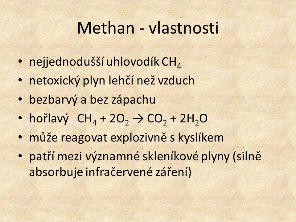 Methan - vlastnosti nejjednodušší uhlovodík CH 4 netoxický plyn lehčí než vzduch bezbarvý a bez zápachu hořlavý CH 4 + 2O 2 → CO 2 + 2H 2 O může reago