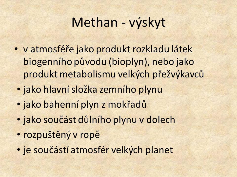 Methan - využití jako plynné palivo kapalný použit ve směsi s kapalným kyslíkem jako pohonná látka v raketových motorech k výrobě oxidu uhličitého, sazí, ethynu (acetylenu) a vodíku 1