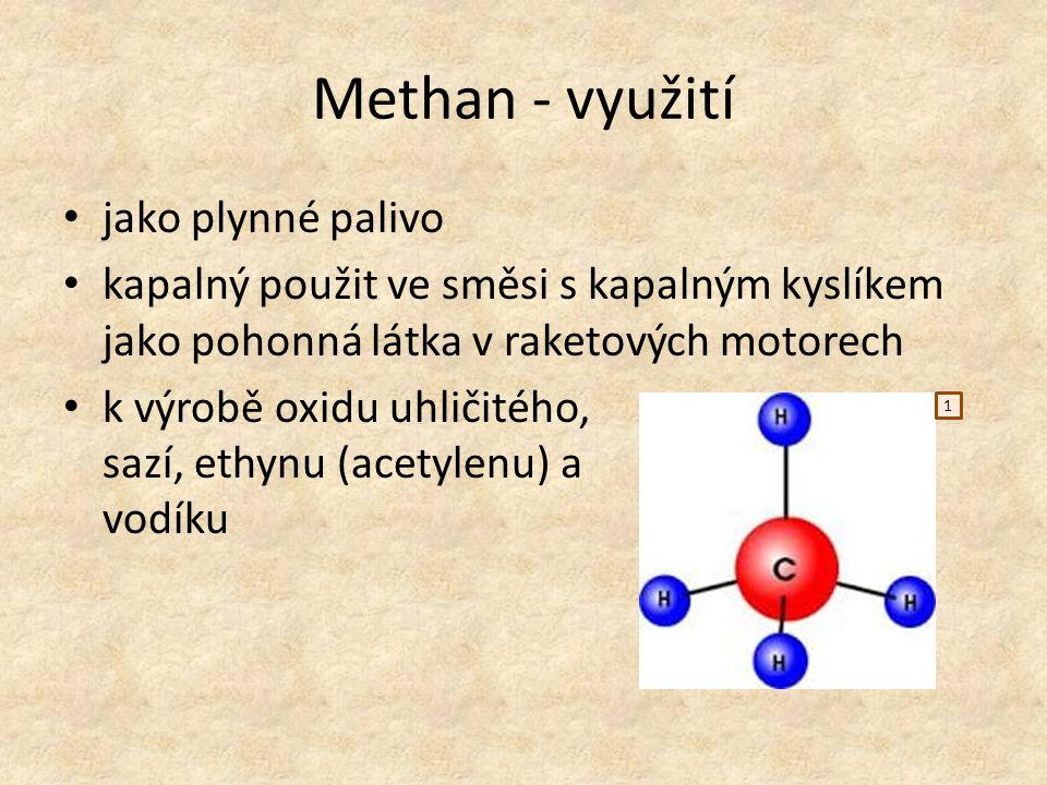 Methan - využití jako plynné palivo kapalný použit ve směsi s kapalným kyslíkem jako pohonná látka v raketových motorech k výrobě oxidu uhličitého, sa