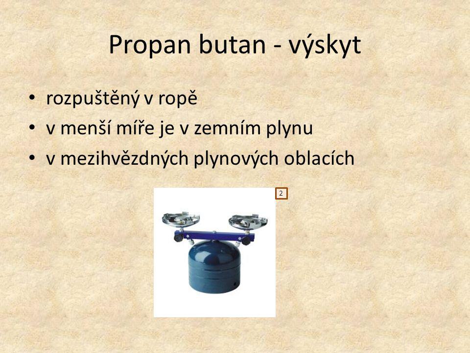 Propan butan - využití jako zdroj tepla k vytápění nebo při přípravě teplých jídel v domácnostech k pohonu motorových vozidel a plavidel (zkratka LPG) součást hnacích plynů ve sprejích palivo v cigaretových zapalovačích v chladírenství (chladničky a mrazničky) jako teplonosné médium