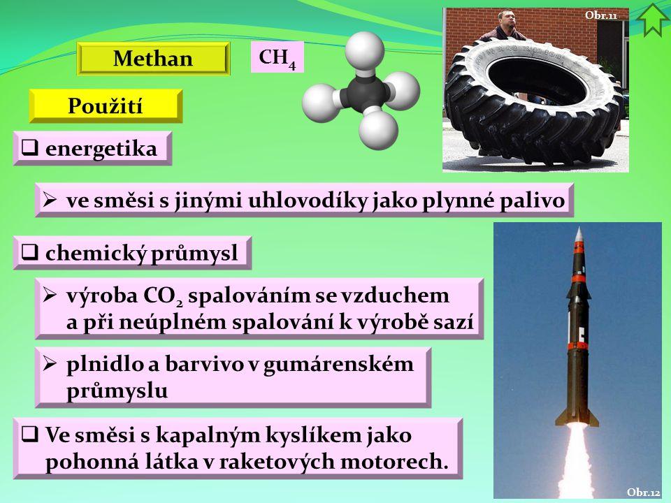 Obr.12 Obr.11  Ve směsi s kapalným kyslíkem jako pohonná látka v raketových motorech.