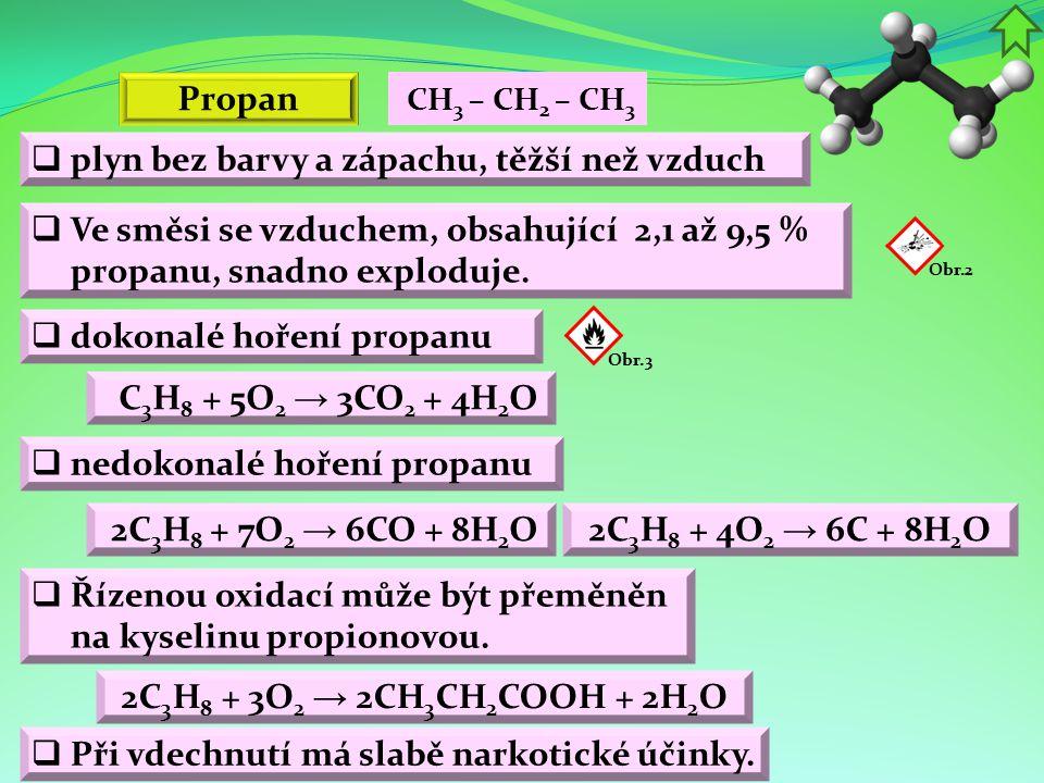 Propan  plyn bez barvy a zápachu, těžší než vzduch  Ve směsi se vzduchem, obsahující 2,1 až 9,5 % propanu, snadno exploduje.  dokonalé hoření propa